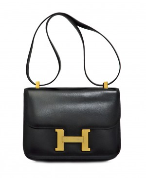 HERMES Constance 23 Bag Black Box Leather Vintage HM160053aa