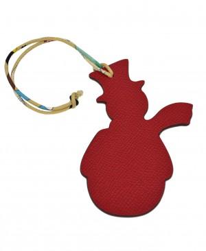 Hermes Petit H Snowman Red