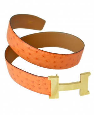 HERMES Vintage Ostrich H Belt
