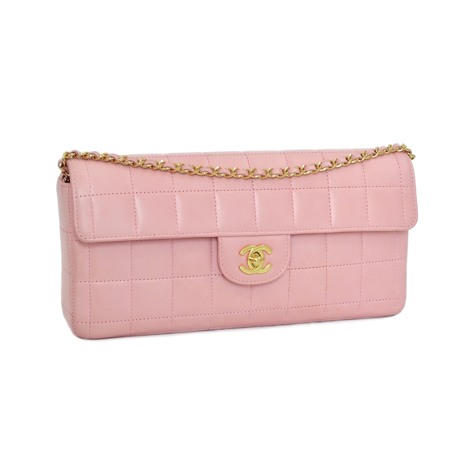 CHANEL Pink Chocolate Bar Clutch Flap Bag CC190029