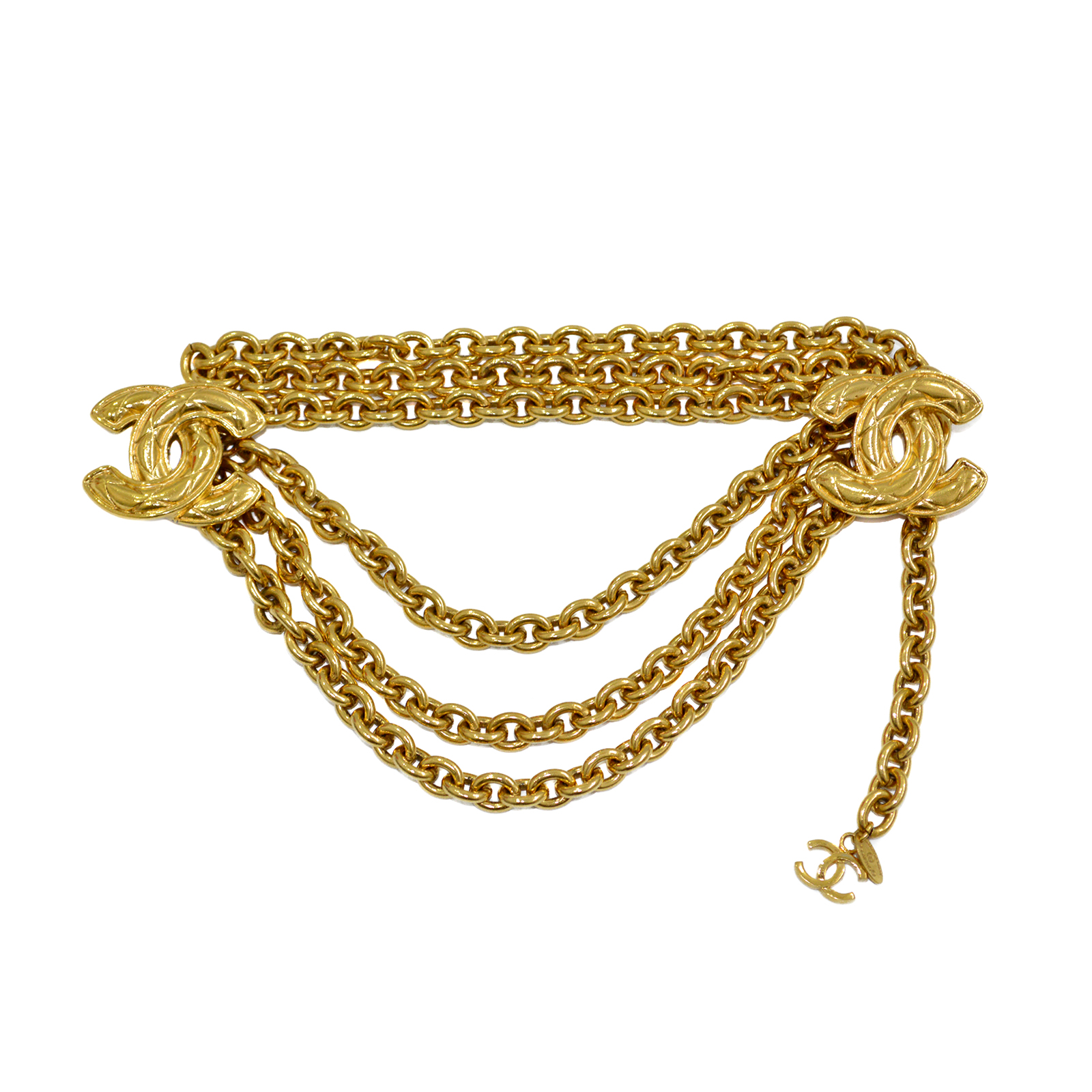 CHANEL Vintage Triple Chain Belt Quilted CC Logo CC190036