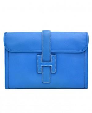 Hermes Blue France Epsom Jige Clutch 29 PM HM170100