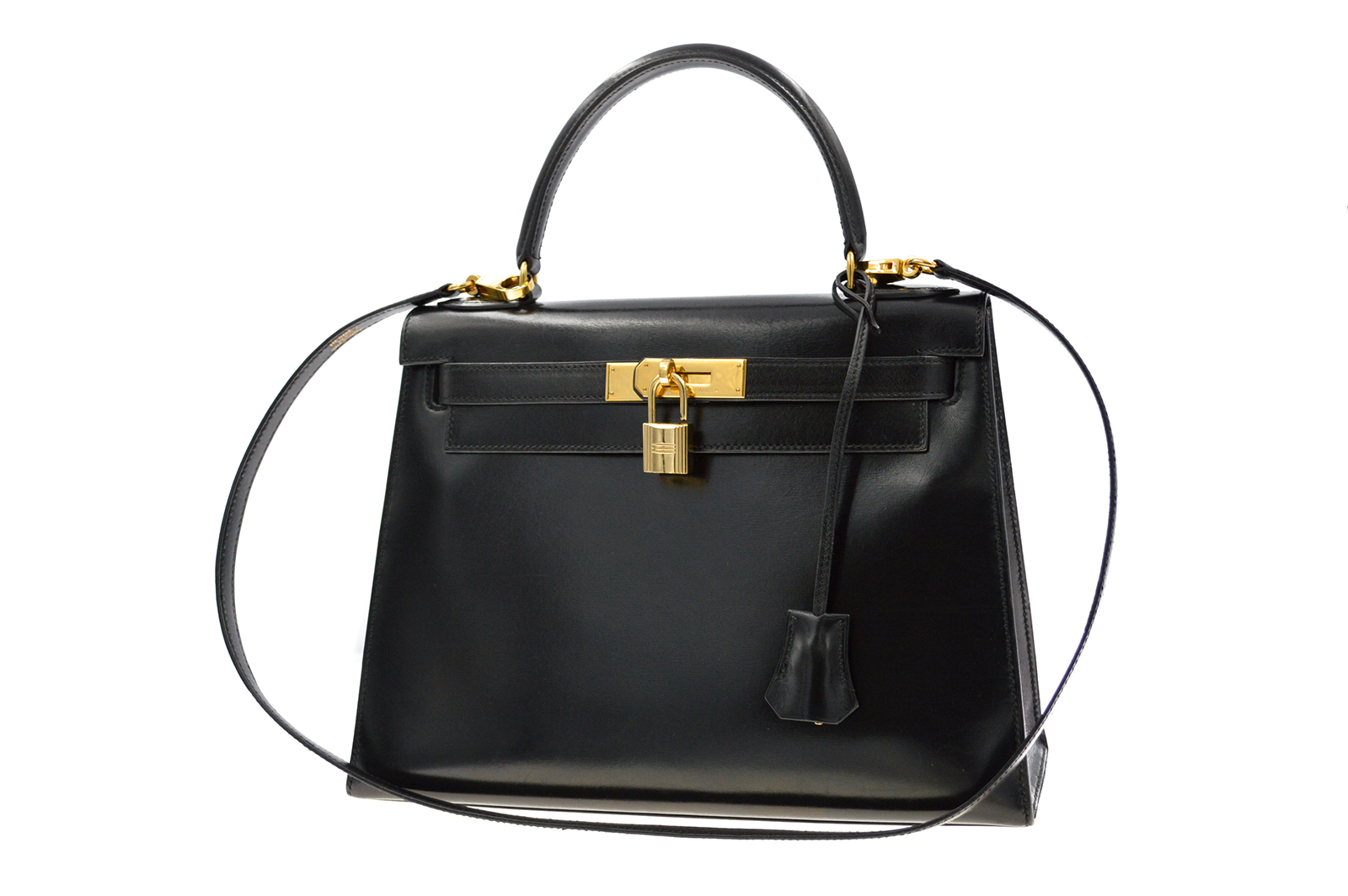 HERMES Kelly 28 Bag Black Box Sellier HM190145a