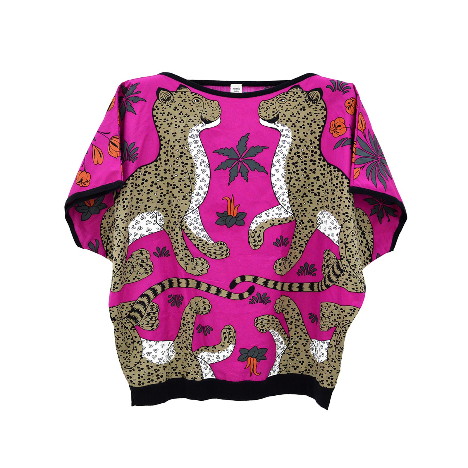 HERMES Les Leopards Fuchsia Pink Tunic Blouse Top HM190149