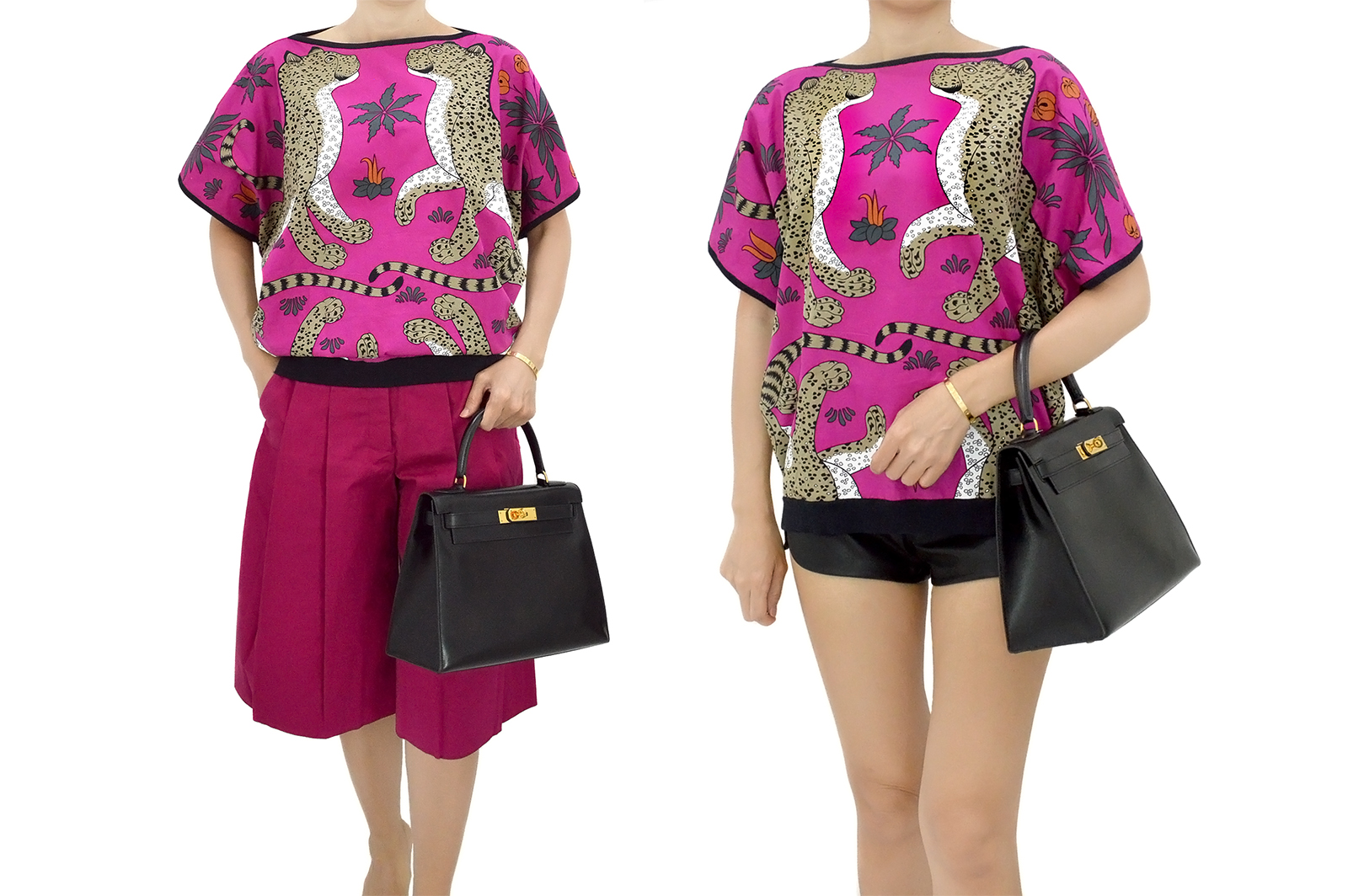 HERMES Les Leopards Fuchsia Pink Tunic Blouse Top Kelly 28 HM190149h