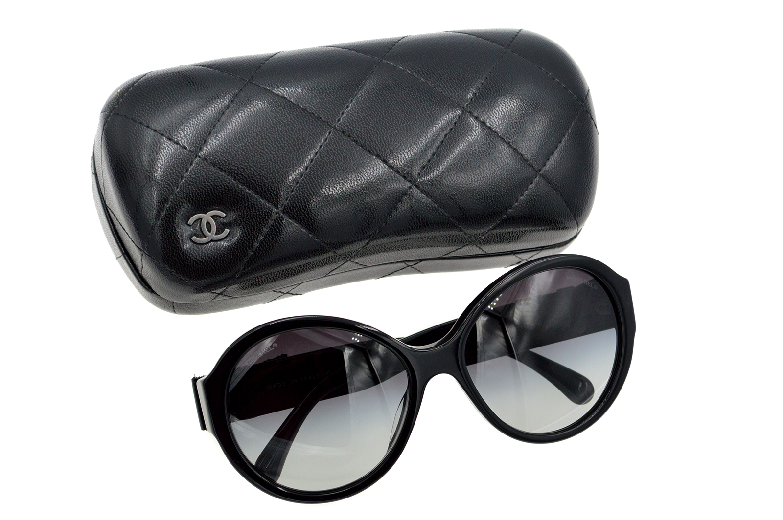 CHANEL Leather Ribbon Bow Sunglasses CC150003h