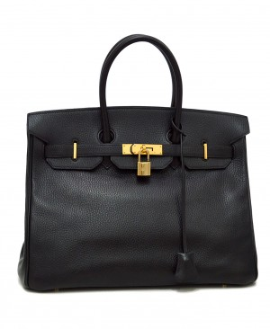 HERMES Birkin 35 Bag Black Ardennes Gold Hardware HM190157