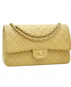 CHANEL Classic Medium Double Flap Bag Beige CC190038